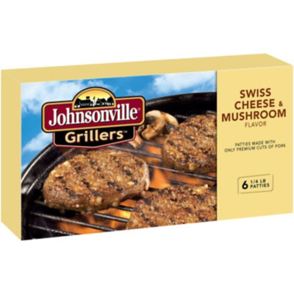 Johnsonville Mushroom & Swiss Brat Patties 6ct (102033) Grillers
