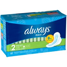 Always Maxi Size 2 Long Super Pads with Wings, Unscented, 32 Count