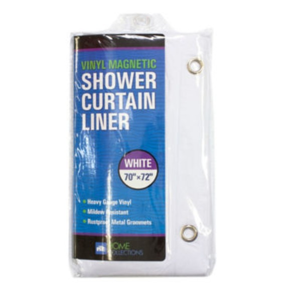 Home Collection Magnetized Shower Curtain Liner White