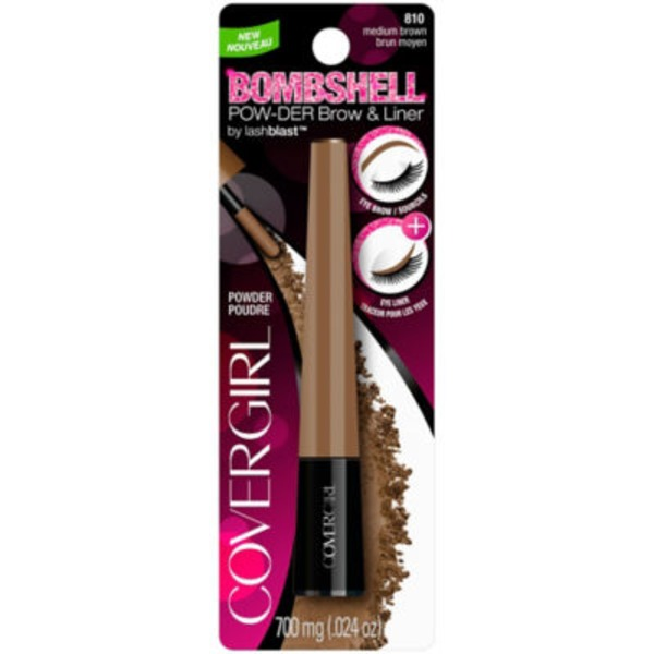 CoverGirl Bombshell COVERGIRL Bombshell POW-der Brow & Line Eyebrow Powder, Medium Brown .24 oz (700 mg) Female Cosmetics