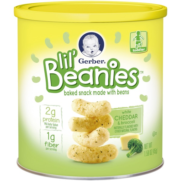 Gerber Lil Beanies White Cheddar & Broccoli Baked Snack Made with Beans
