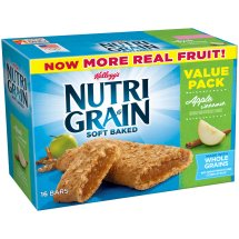 Kellogg's Nutri-Grain Soft Baked Apple Cinnamon Breakfast Bars, 1.3 oz, 16 count