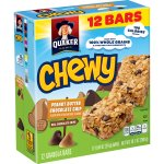 Quaker Chewy Peanut Butter Chocolate Chip Granola Bars, 12 Count, 0.84 oz Bars