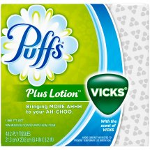 Puffs Plus Lotion Facial Tissues With The Scent Of Vicks, White, 48 Sheets/Box