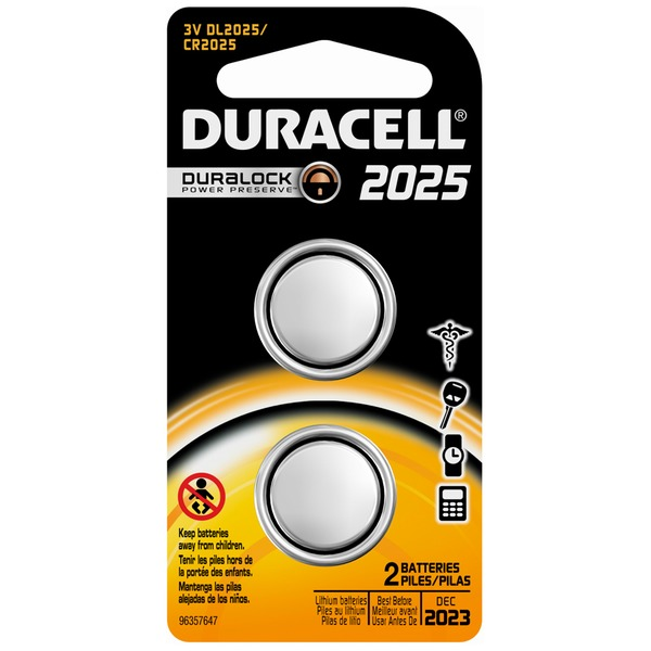 Duracell 2025 Lithium Coin Button Batteries 2 count Specialty Batteries