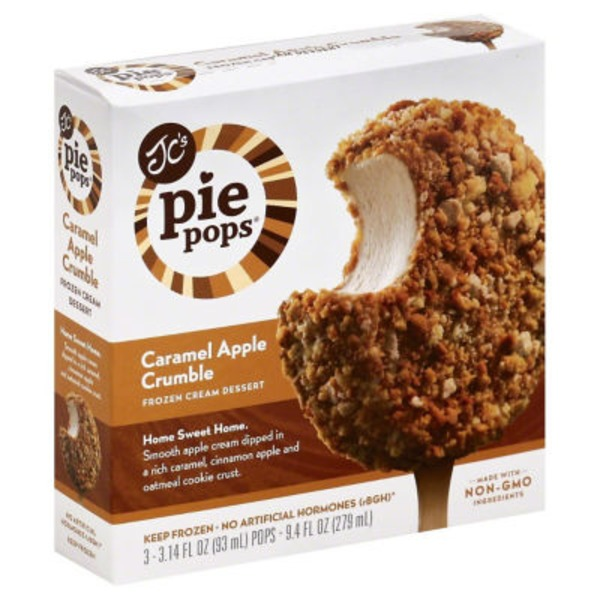 JC's Pie Pops Frozen Cream Dessert Caramel Apple Crumble - 3 CT