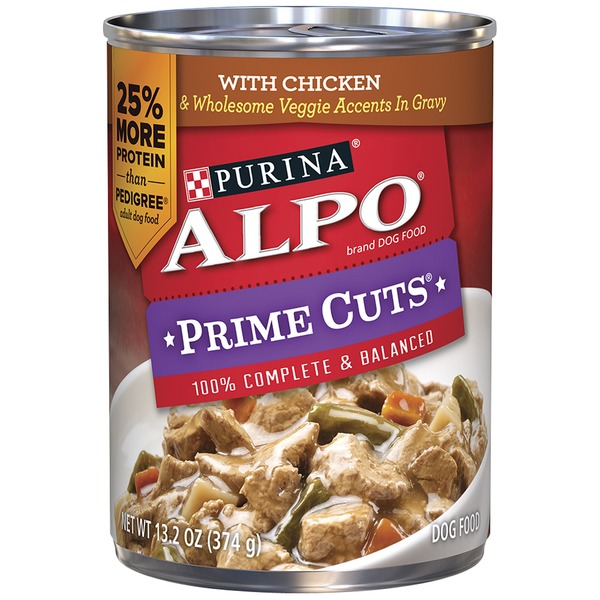 Alpo Wet Prime Cuts With Chicken & Wholesome Veggie Accents in Gravy Dog Food