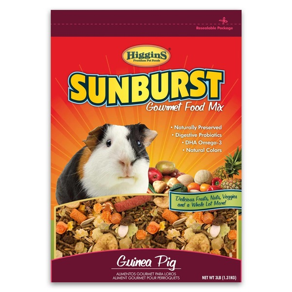 Higgins Premium Pet Foods Sunburst Gourmet Food Mix Delicious Fruits, Nuts, Veggies & A Whole Lot More Guinea Pig Food