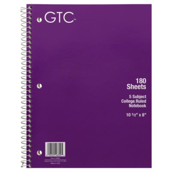 GTC 5 Subject College Ruled Notebook 180 Sheets, 10 1/2 X 8