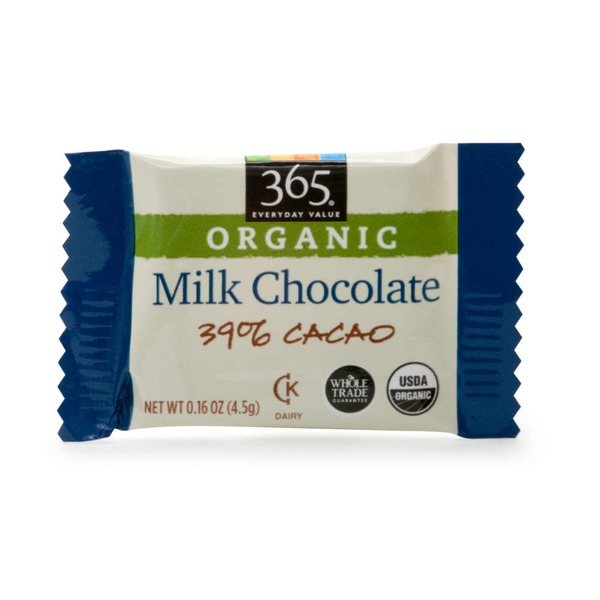 365 Organic Milk Chocolate Square 39% Cacao