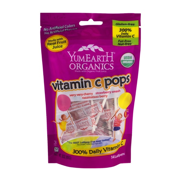 YumEarth Organics Vitamin C Pops Very Very Cherry/Strawberry Smash/Razzmatazz Berry Lollipops - 14 CT
