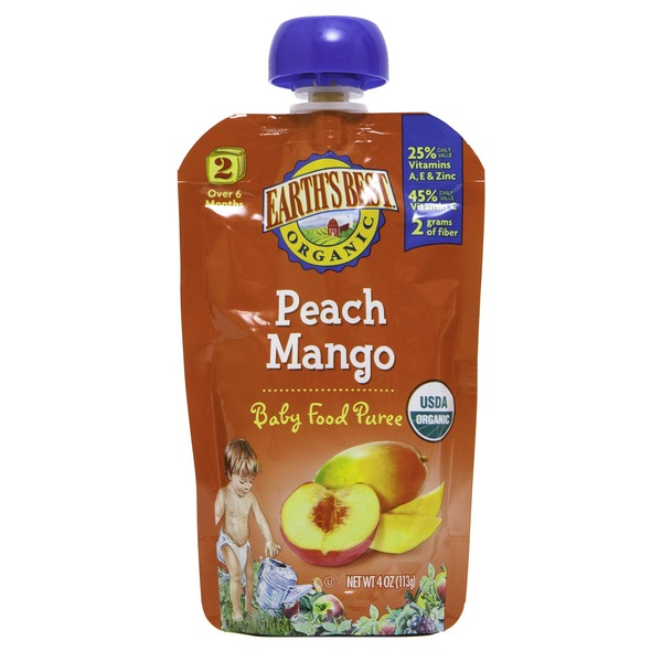 Earth's Best Organic Stage 2 Peach Mango Baby Food Puree