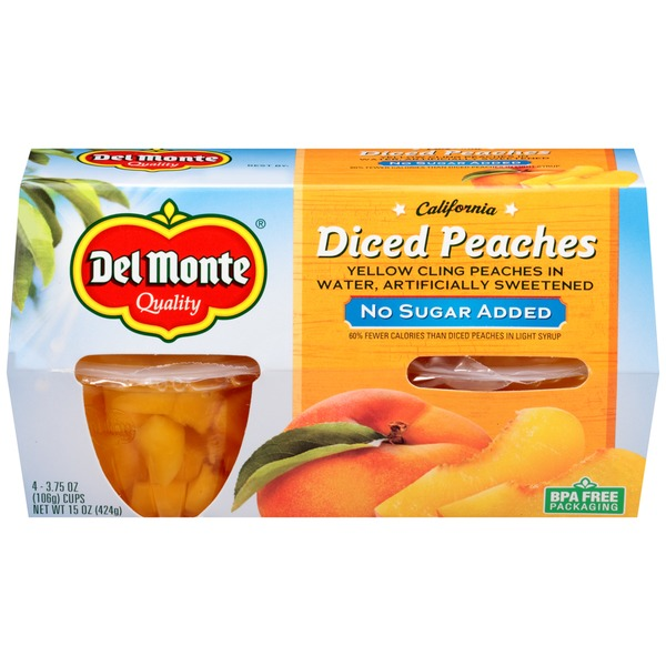 Del Monte No Sugar Added Diced Peaches Fruit Cups