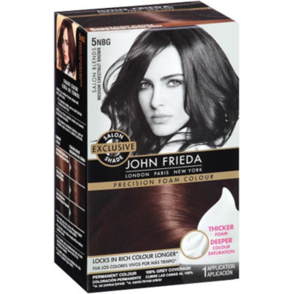 John Frieda Hair Color Brilliant Brunette Medium Chestnut Brown 5NBG Precision Foam Colour