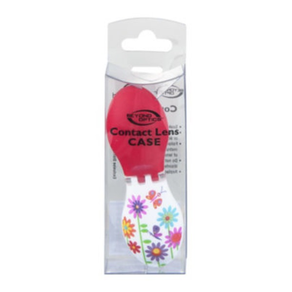 up & up Top Fashion Red Flower Print Contact Lens Case