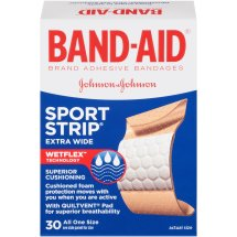 Band-Aid Adhesive Bandages Sport Strip¨ Extra Wide Adhesive Bandages, 30 Ct