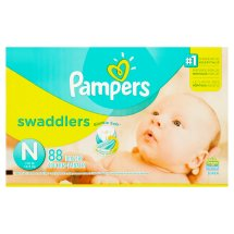 Pampers Swaddlers Diapers, Size Newborn, 88 Diapers