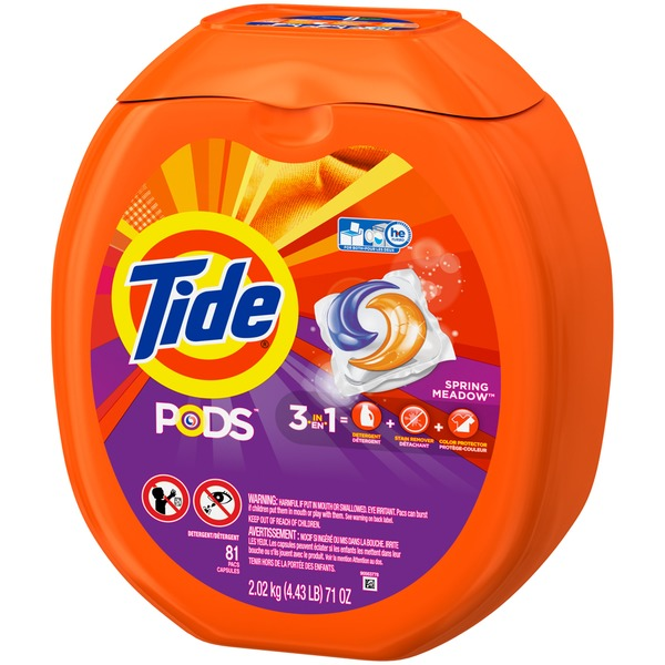 Tide PODS HE Turbo Laundry Detergent Pacs, Spring Meadow Scent, 81 count Laundry
