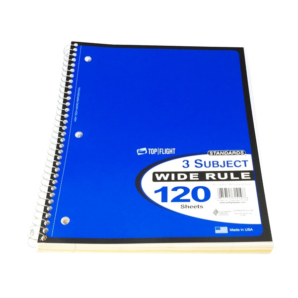 Top Flight Wide Rule 3 Subject Note Book
