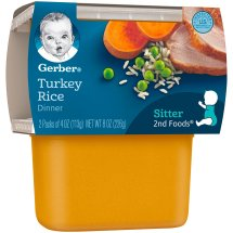 Gerber 2nd Foods Nutritious Dinners Turkey & Rice Baby Food, 4 oz Tubs, 2 Count