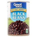Great Value Black Beans, No Salt Added, 15.25 oz