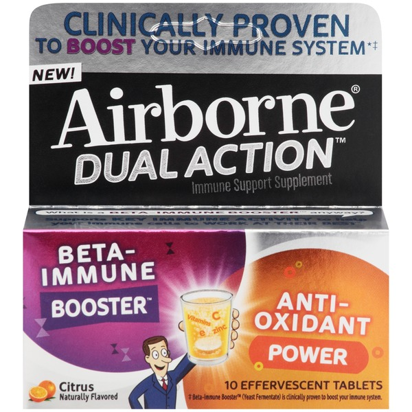 Airborne Dual Action Citrus Effervescent Tablets Immune Support