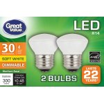 Great Value LED Dimmable R14 (E26) Light Bulbs, 4W (30W Equivalent), Soft White, 2-Pack