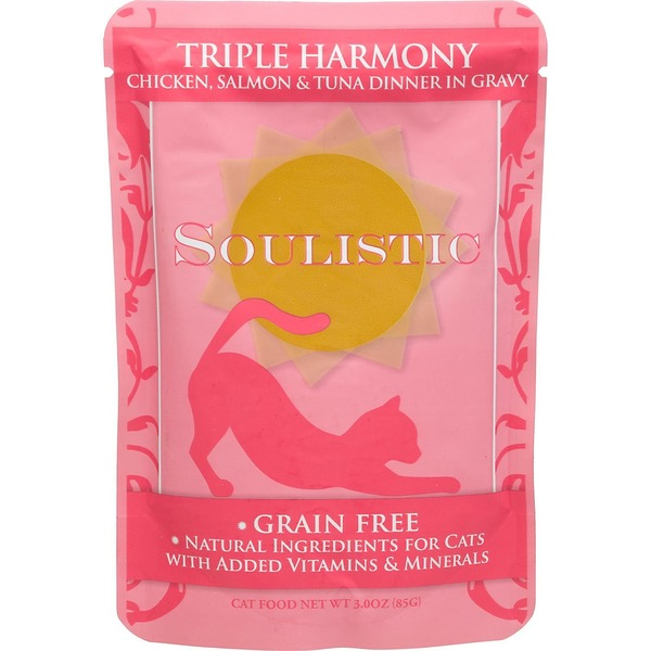 Soulistic Triple Harmony Chicken Salmon & Tuna Dinner In Gravy Cat Food Pouches