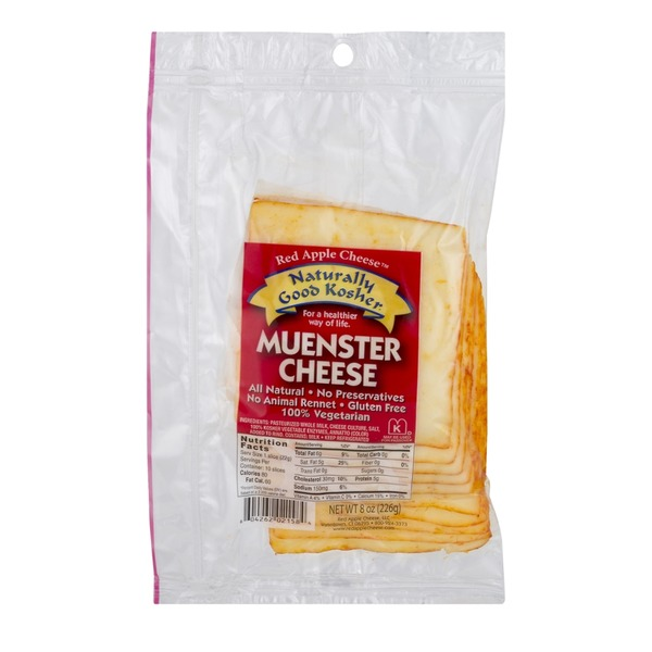 Apple Smoked Cheese Naturally Good Kosher Muenster Cheese - 10 CT