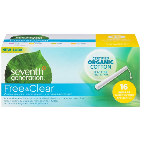 Seventh Generation Free & Clear Organic Cotton Regular with Applicator Tampons