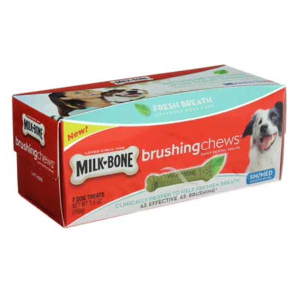 Milk-Bone Brushing Chews Daily Dental Treats, Sm/Med Dogs (25-49 lb), Fresh Breath