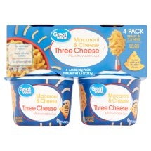 Great Value Macaroni & Cheese Microwavable Cups, Three Cheese, 2.05 oz, 4 Count