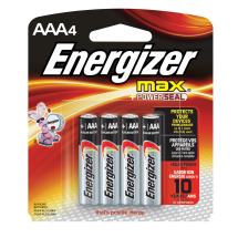 Energizer MAX Alkaline, AAA Batteries, 4 Pack