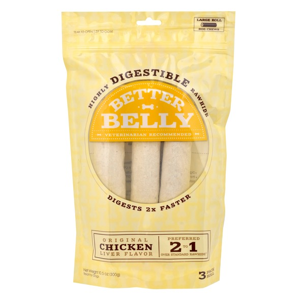 Better Belly Chicken Liver Rawhide Rolls Large Dog Chews 10.5 Oz.