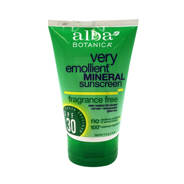Alba Botanica Very Emollient Fragrance Free Mineral Sunscreen SPF 30