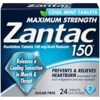 Zantac Maximum Strength Cool Mint 150mg Tablets Acid Reducer