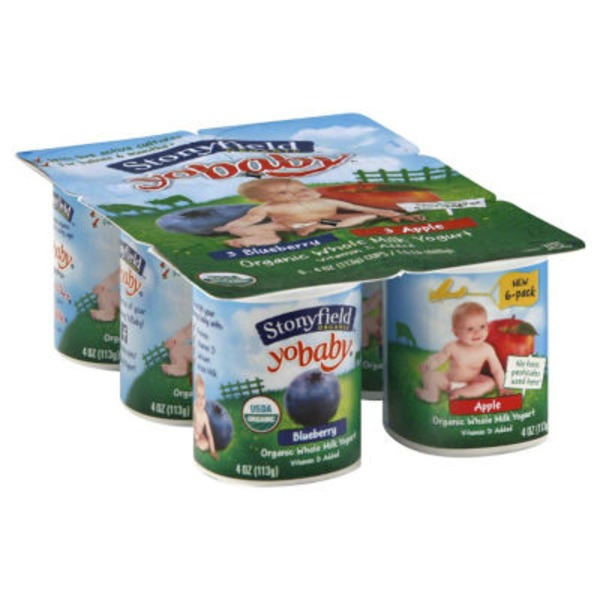 Stonyfield Organic Yobaby Blueberry & Apple Whole Milk Organic Yogurt