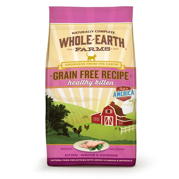 Whole Earth Farms Grain Free Recipe Healthy Kitten Made With Real Chicken Indoor & Outdoor Natural Food for Kittens