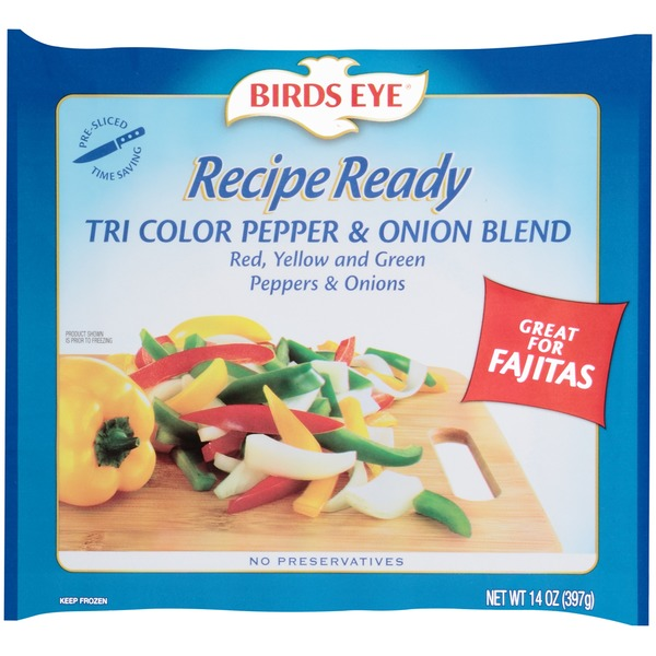Birds Eye Recipe Ready Tri Color Sliced Pepper & Onion Blend