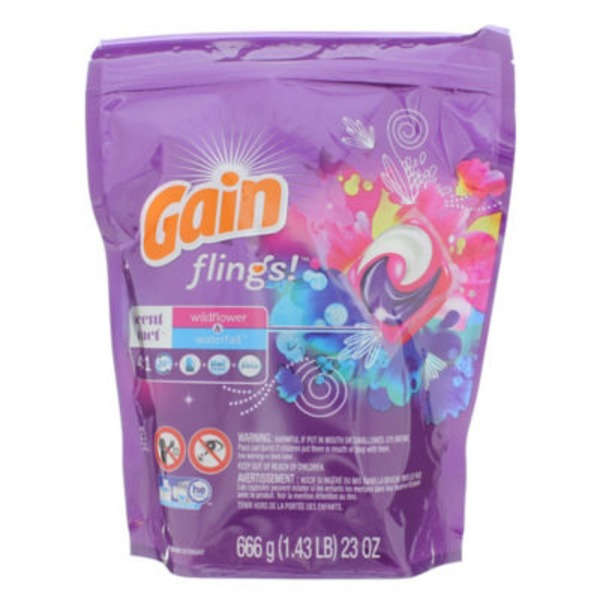 Gain flings! Scent Duets Laundry Detergent Pacs, Wildflower and Waterfall, 23 count Laundry