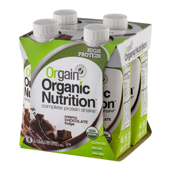 Orgain Organic Nutritional Shake Creamy Chocolate Fudge - 4 CT
