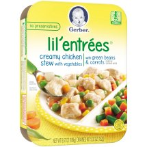 Gerber Lil' Entrees, Creamy Chicken Stew with Vegetables with Green Beans and Carrots, 6.67 oz Tray