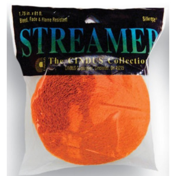 Cindus Streamer Bright Orange Crepe Paper
