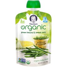 Gerber Organic 2nd Foods Baby Food, Green Beans & Sweet Corn, 3.5 oz Pouch