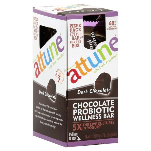 Attune Chocolate Probiotic Wellness Bar, Dark Chocolate
