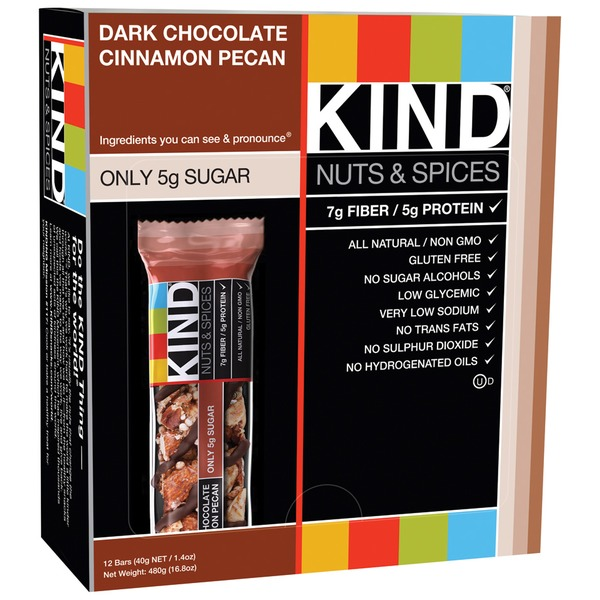 Kind Nuts & Spices Dark Chocolate Cinnamon Pecan 1.4 oz Fruit & Nut Bar