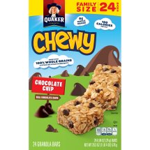 Quaker Chewy Granola Bars, Chocolate Chip, 0.84 oz, 24 ct