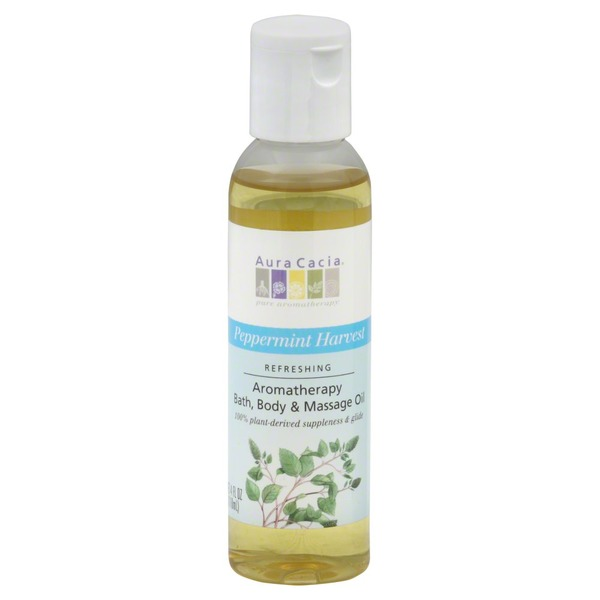 Aura Cacia Bath, Body & Massage Oil, Refreshing, Peppermint Harvest