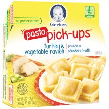 Gerber Pasta Pick-Ups, Turkey and Vegetable Ravioli Packed in Chicken Broth, 6 oz Tray