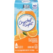 Crystal Light On-The-Go Drink Mix, Orange, 0.13 Oz, 10 Packets, 1 Count